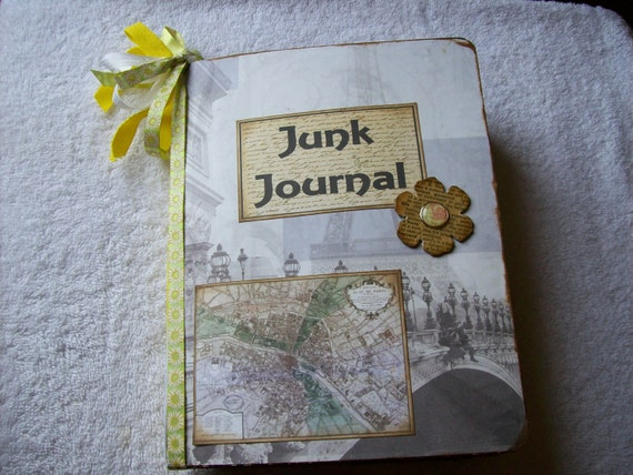 Junque Journal Shabby, Chunky, Wrinkled and Distrissed Pages Altered Composition Note Book Paris
