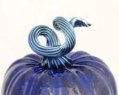 Hand Blown Glass Pumpkin - Cobalt Blue with Iridescent Midnight Blue Stem - table centerpiece - gifts for her luxury