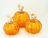 Blown Glass Pumpkin - Small - Amber Glass Transparent Mix - Autumn Decor - harvest holiday decor - entertaining