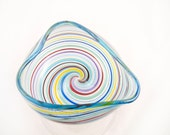 Blown Glass Bowl - Venetian Style Heart Bowl - Valentines Day Gift - handmade luxury - mod rainbow blue -dreamt ateam oht teamcamelot