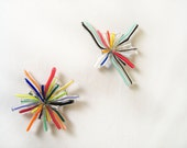 Venetian Star Magnet - Hand Blown Glass - Bright Colorful Mod Retro Rainbow - office supplies organization
