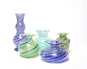 Mini Glass Bottle Vase with Purple Blue Geometric Stripes Home Decor Sculpture Luxury gift tagt
