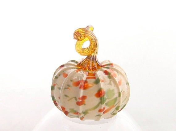 Blown Glass Pumpkin - Small - Winter Meadow Series - Home Decor - Pumpkin Art - Light Beige Red Green