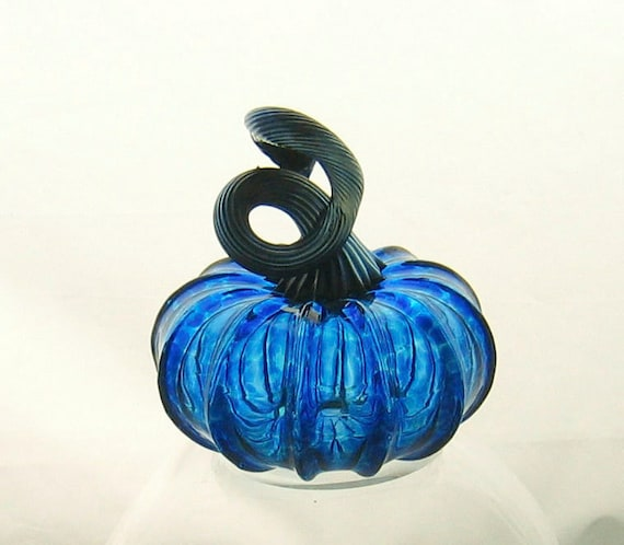 Blown Glass Pumpkin - Small - Transparent Vibrant Blue - Home Decor - Pumpkin Art