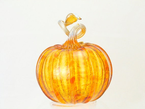Halloween Decoration Pumpkin Orange Amber Glass Harvest Decorations  Kitchen Art Holiday Decor