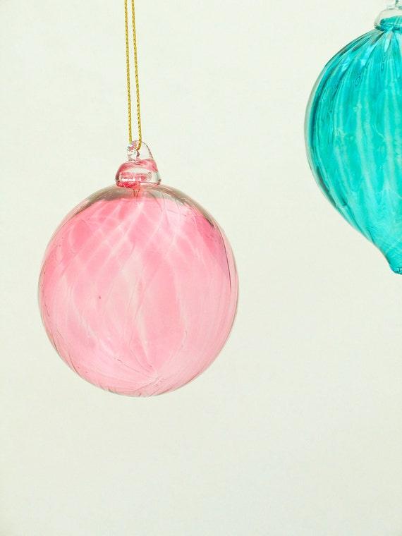 Blown Glass Sun Catcher Ornament - Light Transparent Pink Mothers Day Gift - transparent glass ball under 25