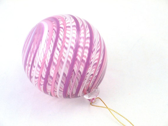 Glass Sun Catcher Window Hanging Ball Ornament - Venetian Style Lavender Purple Pink Striped Glass - luxury decoration