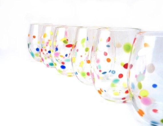Blown Glass Tumbler Set  Retro Bright Polka Dot Juice Glasses Fun Whimsical