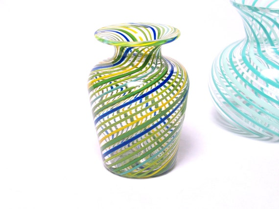 Miniature Glass Vase with Green Blue Stripes Luxury gift Collectible Mini Vessel