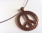 Rustic Hammered Copper Peace Sign Choker