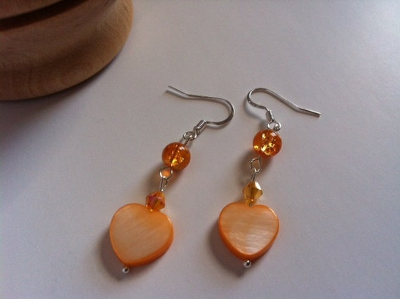 Hearts On Fire Mother of Pearl & Crackled Glass Earrings