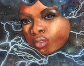 African Moon Goddess Starry Sky Art