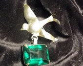 Sterling Silver Dove Pin with Green Faux Emerald
