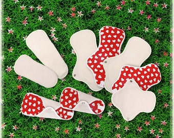 Pure Cotton Reusable Cloth pads for period - 3 Mini, 3 Regular & 3 Large pads (Love heart)
