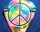 Tie Dye with Peace Sign Guitar Pick Pendant