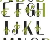 Fleur de lis Letters, Fleur de lis Font, Fleur de lis Alphabet, Fleur de lis Monogram, Machine Embroidery Design
