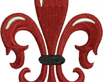 Red Fleur de Lis Embroidery Design, French, Machine Embroidery Design