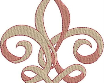 Breast Cancer Fleur de Lis Embroidery Design, Pink, Swirl, Curly, Machine Embroidery Design