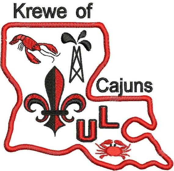 Louisiana  Machine Embroidery Design, Krewe, Louisiana, Applique, Fleur de lis, UL, Cajuns, Oilfield, Crawfish, Embroidery Design