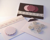 Three blank greeting cards folding cards pink cards brown card ribbon layered stickers layered diecuts