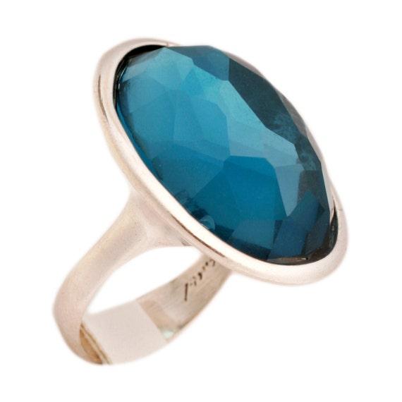 silver ring -  blue topaz zircon