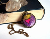Felt Pendant  Necklace with Red Heart Valentines Day