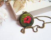 Felt Necklace Pendant  with Red Poppy