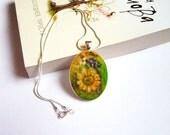 Felt Pendant Necklace with Sunflower Needle felt Jewelry