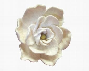 Felt Flower Brooch  pin  Blooming white gardenia gift for her