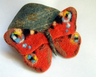 Hand Feted Brooch, Felt brooch, Felt butterfly, Orange peacock, mother gift, needle felted brooch, felt jewelry,gifts for women, brooches