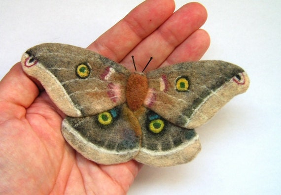 Hand Felted Brooch  - Butterfly Polyphemus moth