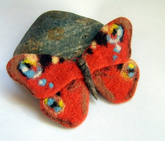 Hand Felted Brooch  - Butterfly Orange peacock