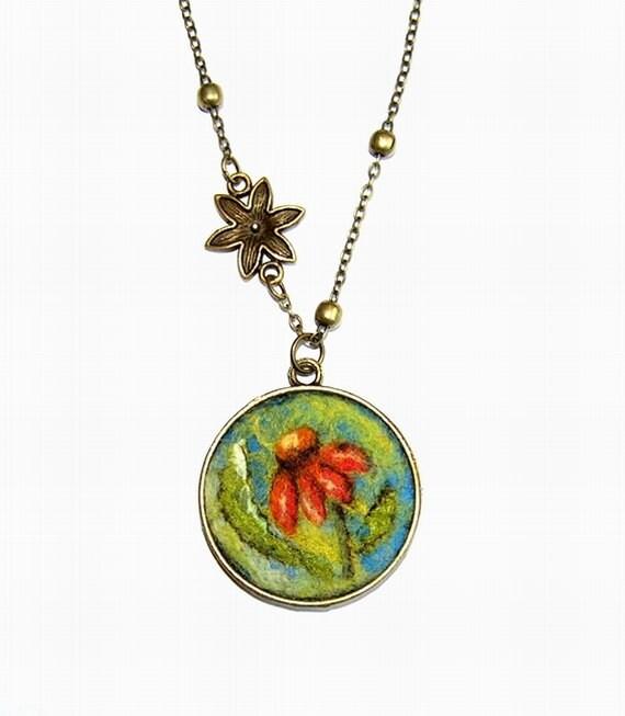 Felt Necklace Pendant  with Orange flower
