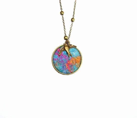 Felt Necklace Pendant  In the sky blue gold rosa silk OOAK