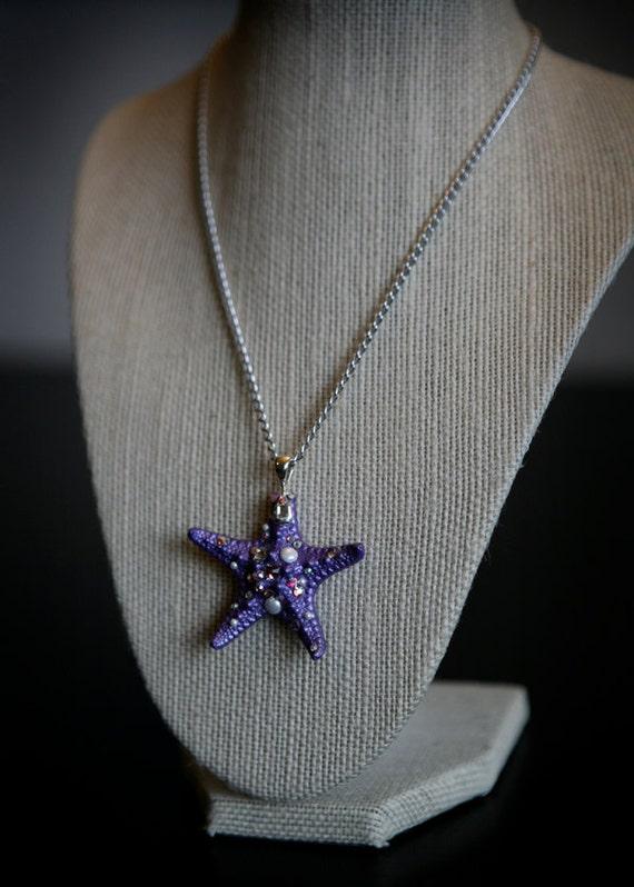 Shimmering Purple 'Sparklefish' Sea-Star Necklace