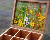 Tea box with yellow flower meadow embroidery