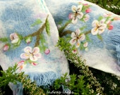 Soft wool scarf with pink apple flowers