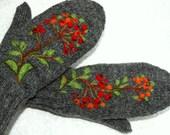 Gray mittens with rowan berries - warm and beautiful.