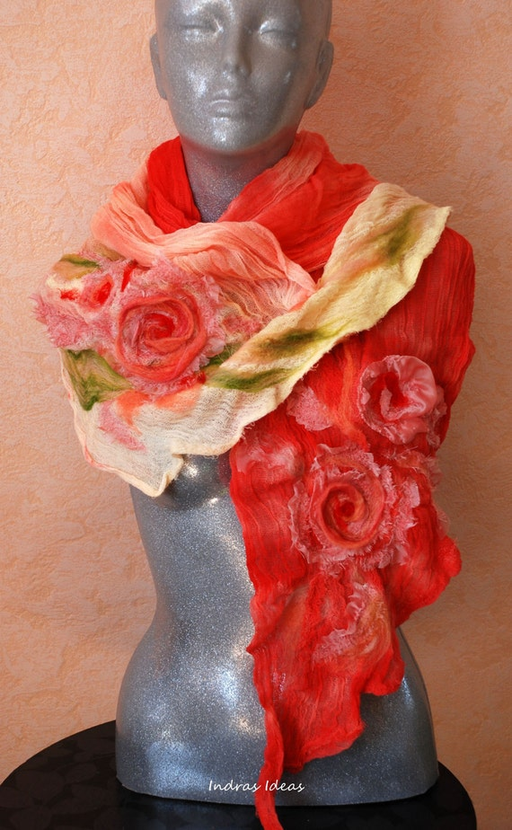 Soft and airy scarf with flower