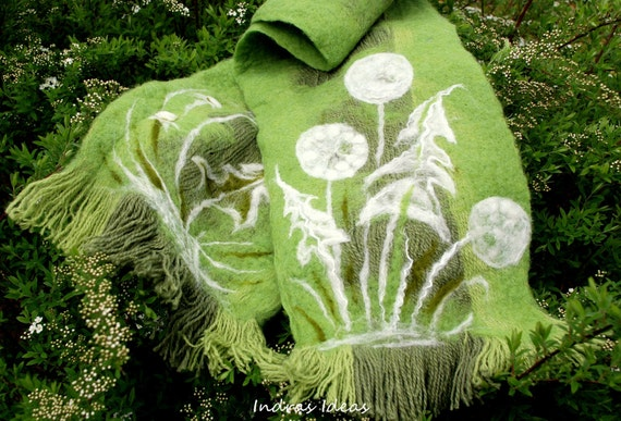 30% OFF SALE Green, soft wool scarf with white snowy puff fluff dandelion ..