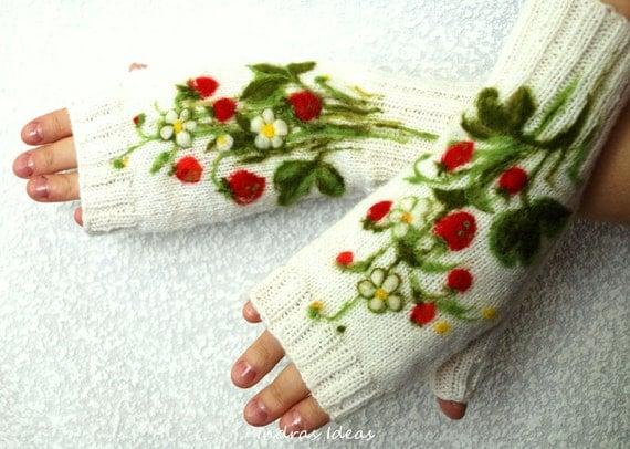 White fingerless gloves with felted strawberries