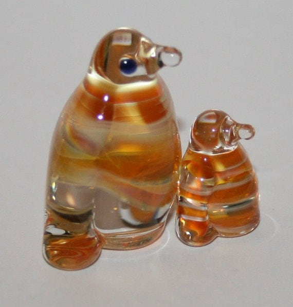 Glass penguins miniature HANDCRAFTED