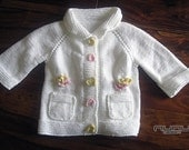 White Cardigan with Flowers for Children