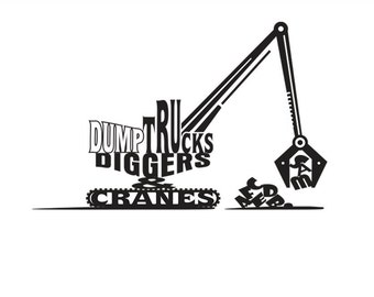Personalized Dump Trucks Diggers & Cranes Wall Decal for a little boys room