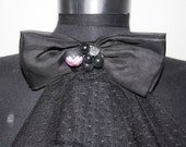 black satin and tulle big bow tie