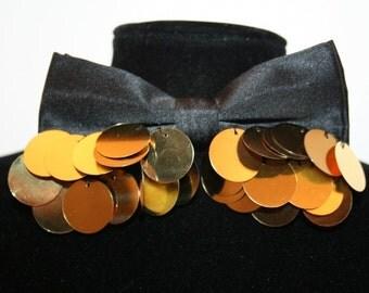 Black Bow tie with golden mettalic pieces applique