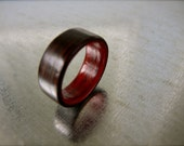 Bentwood Wenge and Padauk Wood Ring - Mens Wooden Ring Anniversary Ring, Men Wedding Band Women Engagement Ring