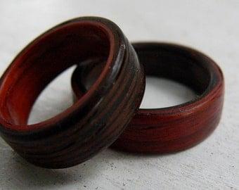 Wenge and Padauk Matched Set Bent Wood Rings