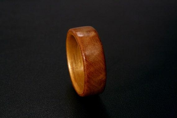 Handmade Bentwood Ring -- Redwood Burl with Butternut Liner