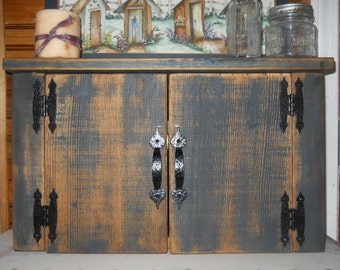 Primitive Rustic Wooden  Cabinet Hutch
